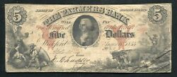 1855 5 The Farmers Bank Wickford, Rhode Island Obsolete Currency Note Rare