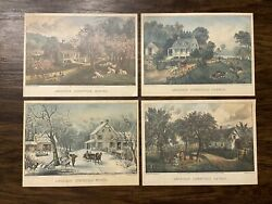 Currier And Ives Original Lithograph American Homestead Spring 1868- 4 Seasons