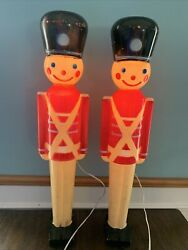 """2-vintage 32"""" Lighted Christmas Nut Cracker Toy Soldier Blow Mold 1950's Hard"""
