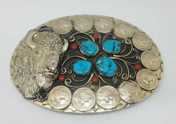 Rare Large Solid Silver Turquoise Buffalo Fivecents Navajo 241.4g. Belt Buckle