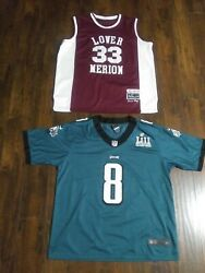Kobe Bryant Custom Super Bowl Jersey W/ Lower Marion H.s. Jersey Pre Owned
