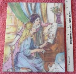 Vintage Artini Renoir Piano Lessons Plaque 4 Dimensional Twin Etched Engraving