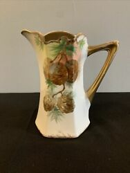 Vintage Limoge Hand-painted Pinecone 7 1/2 Inch Pitcher