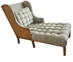 Midcentury Modern Style Custom Suede Chaise Burled Wood - Woodland Furniture Co