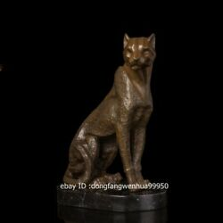 Hotel Office Home Decoration Marble Brass Copper Leopard Panther Sculpture