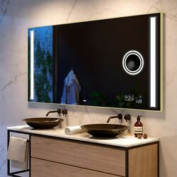 Led Illuminated Bathroom Mirror With Back Cover | Bluetooth | Make-up | 02 Brown