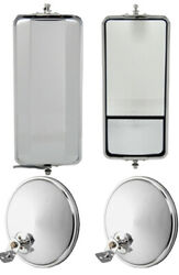 Set Of Ss West Coast Mirror W/ Convex And 8.5 Chrome Offset Convex Mirrors