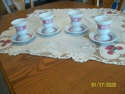 Heinrich Randuumldesheimer R And C. Footed Irish Coffee Cup And Saucers Red Scenes Set 4