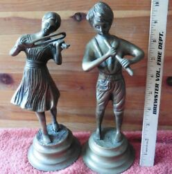 Pair Of Cast Brass Bronze Figures Boy Playing Flute Girl Playing Violin Vintage