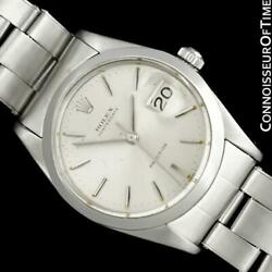 1966 Rolex Vintage Mens Oysterdate Date Watch Silver Dial - Stainless Steel