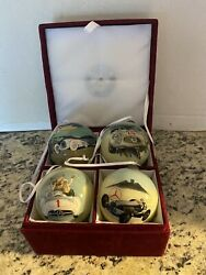 Set Of 4 Limited Edition Mercedes Benz Holiday Christmas Ornaments Bulbs In Box