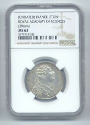 France Undated Silver Jeton Royal Academy Of Sciences 29 Mm Graded Ms63 By Ngc