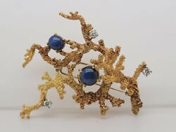 18k Yellow Gold Sapphire And Diamond Coral Reef Pin