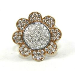 Natural Round Diamond Cluster Flower Shape Ladyand039s Ring 18k White Gold 1.74ct