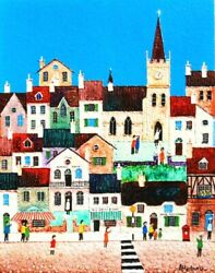 Vintage English Textured Acrylic Naive Painting By Atterbury - The Village P227