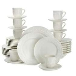 Mikasa American Countryside 40-piece White Embossed Dinnerware Set Service For 8