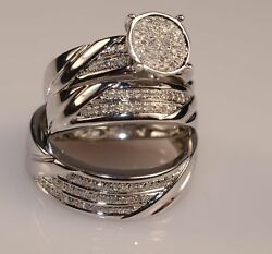 3.00 Ct Trio New Year Special Diamond Set Matching Engagement Ring Wedding Band