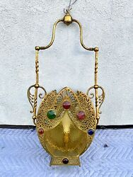 High End Aesthetic Rare Jeweled Hanging Brass Light/ Chandelier. 1880s