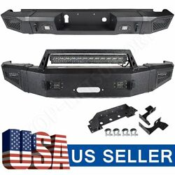 Textured Heavy Full Width Front And Rear Bumper W/ Leds For 15-17 Silverado 2500