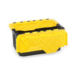 15 Gallon Flip Lid Tough Container, Black Base With Yellow Lid, Set Of 6