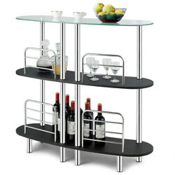 Mordern Style Home Bar Table for Wine Storage w Tempered Glass Top amp; 2 Shelves