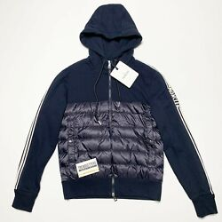 100 Authentic Moncler Down Sweatshirt Hoodie Mens Navy Small Jacket S Blue