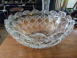 Gorgeous Highly Polished Antique Cut Glass Punch Bowl