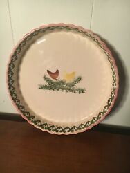 Secla Pottery Oval Serving Dish Yellow Red Chickens Portugal Vintage Beautiful