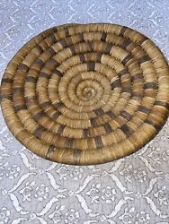 """Antique Hopi Indian Coiled 10.75"""" Basket Plaque And 1967 University Field Label"""