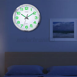 12#x27;#x27; Classic Luminous Glow Wall Clocks Large Silent Dark Quartz Bedroom Decor