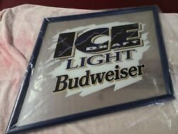 Budweiser Ice Draft Light Mirror Beer Sign Slanted Game Room /man Cave New 1994