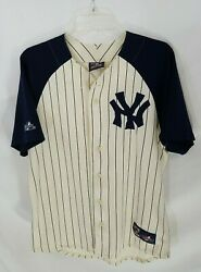 Majestic Cooperstown Collection New York Yankees Button Front Striped Jersey M
