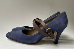 Anyi Lu Blue Suede Leather Sophia Ankle Strap 2.5 Pumps Size Us 7.5/eur 37.5