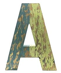 Distressed Wooden Letter A 12 Blue And Green Over Wood Shabby Chic Nwot