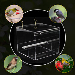 Auto Bird Feeder Parrot Feeding Device Transparent Food Container W/ 4 Hooks Us
