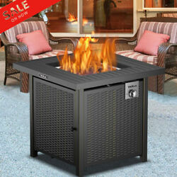 28and039and039 Outdoor Fireplace Propane Gas Fire Pit Patio Camp Table 50000btu W/cover