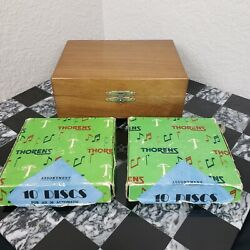 Vintage Thorens Wooden Music Box Player With 21 Metal Discs Made In Switzerland
