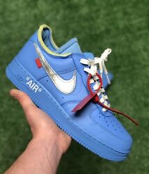 Nike Air Force 1 Off-white Mca Andlsquo07 Virgil University Blue Size 10.5 Ci1173-400