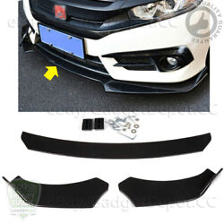 Universal For Honda Audi Bmw Gmc Front Bumper Black Lip Chin Spoiler Splitter