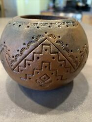 Old African Zulu Beer Pot Bowl Clay Pottery Earthenware Swazi Marked