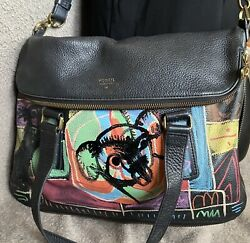 Gypsy Revolution Fossil Upcycled Hand Painted Crossbody Tote Bag Laptop Graffiti
