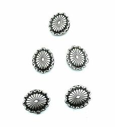 Vintage Old Pawn Navajo Sterling Silver Oval Concho Button Covers - 5pc. Set