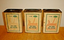 Vintage Lot 3 Large Durkee's Red Pepper Tin And Cardboard Spice Cans 2-full