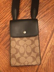 Coach NORTH SOUTH PHONE CROSSBODY IN SIGNATURE CANVAS Bag 91289 NEW Brown $54.99