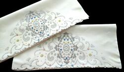 Madeira Heavily Embroidered Pillowcases 21x36 Pastel Floral Handwork Vintage
