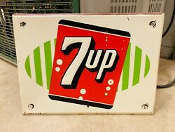 Vintage 7up Soda Advertising Sign Embossed Dated 1-59 83 Vendo 13 X 9.5