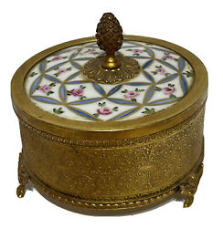 Antique French Trinket / Jewelry Box Gilded Ormolu And Porcelain Lid, Very Rare
