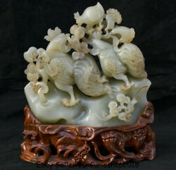 9.6old Natural Hetian Jade Nephrite Feng Shui Zodiac Animal Rooster Cock Statue