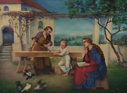 H.hertlein Munich Painter - Jesus With Mary And Josef