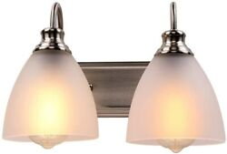 2 Heads Vanity Light Fixture Wall Sconce Lamp Lighting Alabaster Glass Shads